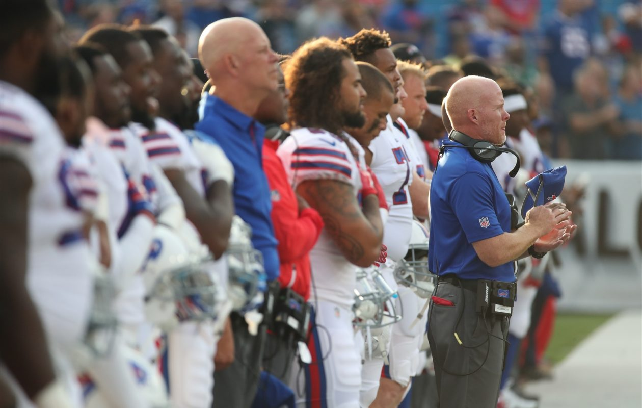 Bills coach Sean McDermott has made it clear to his players that Sunday's game against the Panthers isn't about him. (James P. McCoy/Buffalo News)