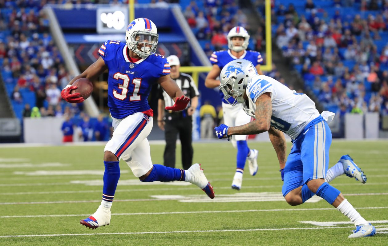 Buffalo Bills running back Jonathan WIlliams runs for a touchdown against the Detroit Lions during first quarter action at New Era Field on Thursday, Aug. 31, 2017.(Harry Scull Jr./Buffalo News)