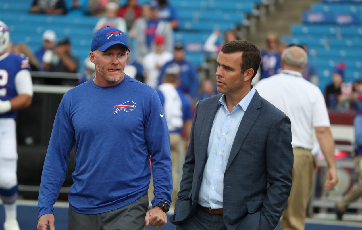 Bills coach Sean McDermott and GM Brandon Beane are getting ready for a Panthers reunion. (James P. McCoy/Buffalo News)