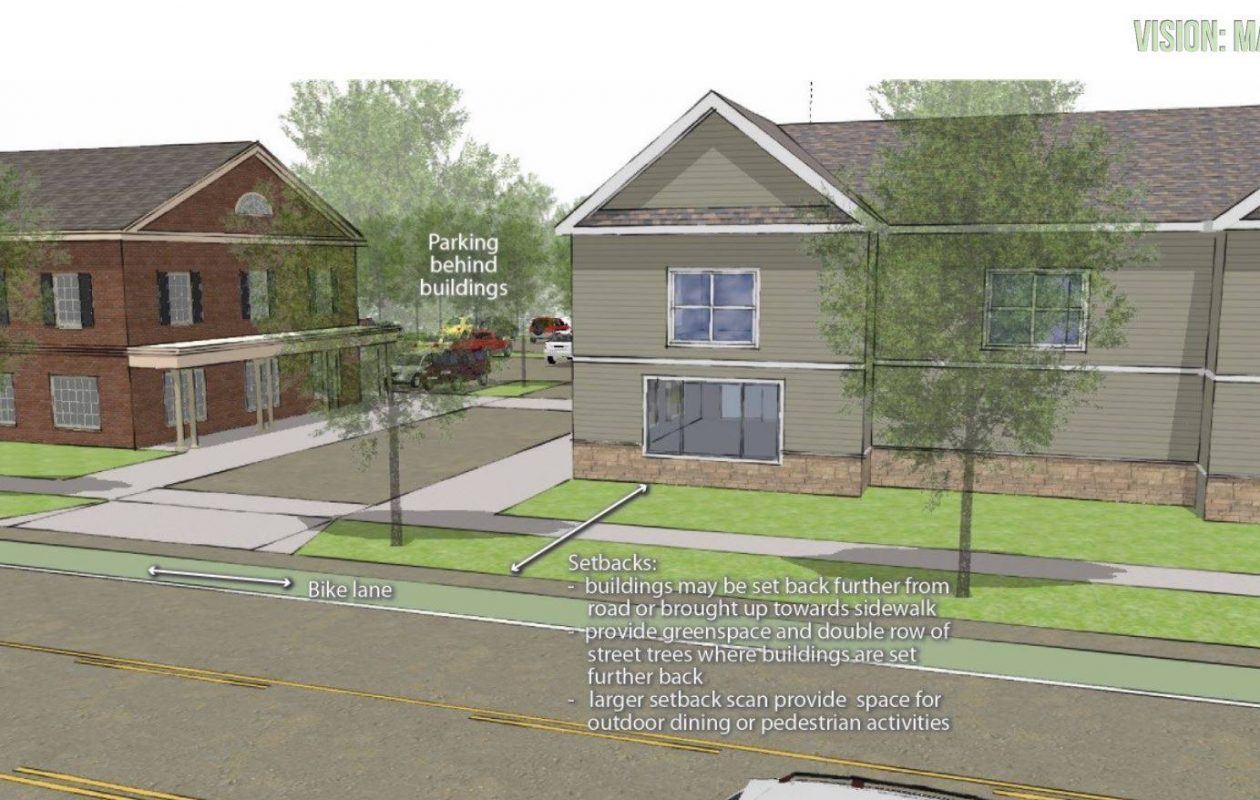 Clarence's Vision Main Street plan includes guidelines for the Harris Hill hamlet. This drawing shows the design intent for future development along Main in Harris Hill.