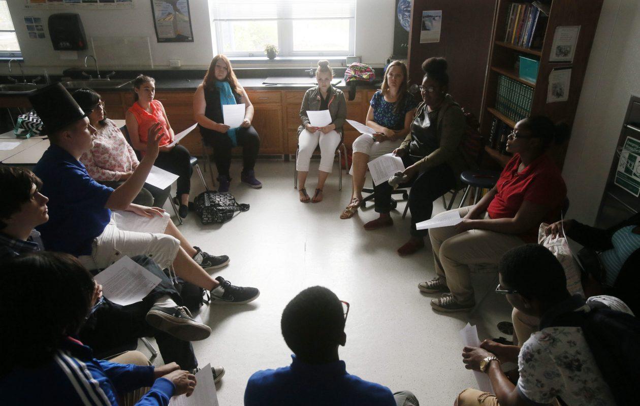 """A 10th grade """"crew"""" meets with their advisor, teacher Hillary Kelkenberg at Tapestry Charter School, Thursday, June 12, 2014. (Derek Gee/Buffalo News)"""