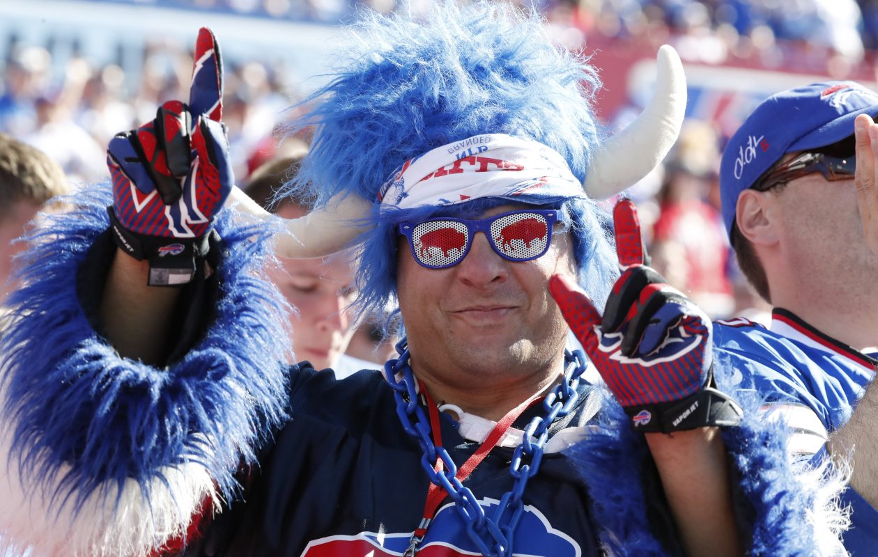 A Buffalo Bills fan celebrates during third quarter action against the Arizona Cardinals  at New Era Field on Sunday, Sept. 25, 2016.  (Harry Scull Jr./Buffalo News)