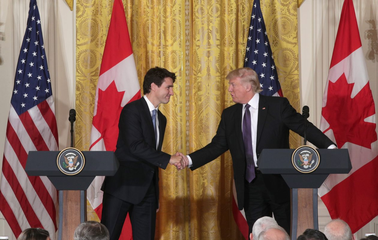 President Donald Trump and Canadian Prime Minister Justin Trudeau in Feb. 13, 2017. The U.S.-Canada relationship will be very different if the Trump pulls out of NAFTA. (Photo by Alex Wong/Getty Images)