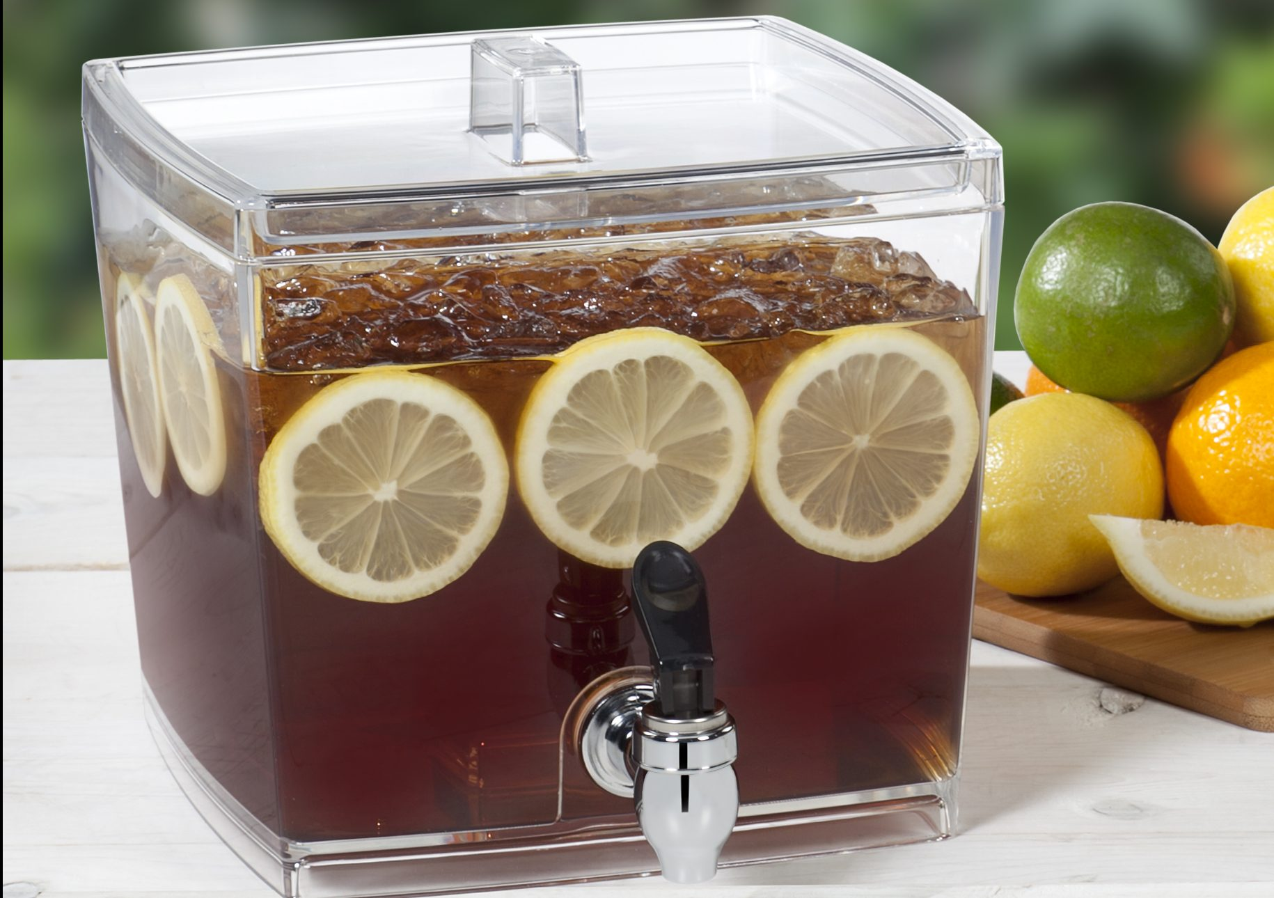 Beverage dispensers come in a variety of shapes and sizes. This  1.5-gallon, BPA-free beverage dispenser is from CreativeWare.