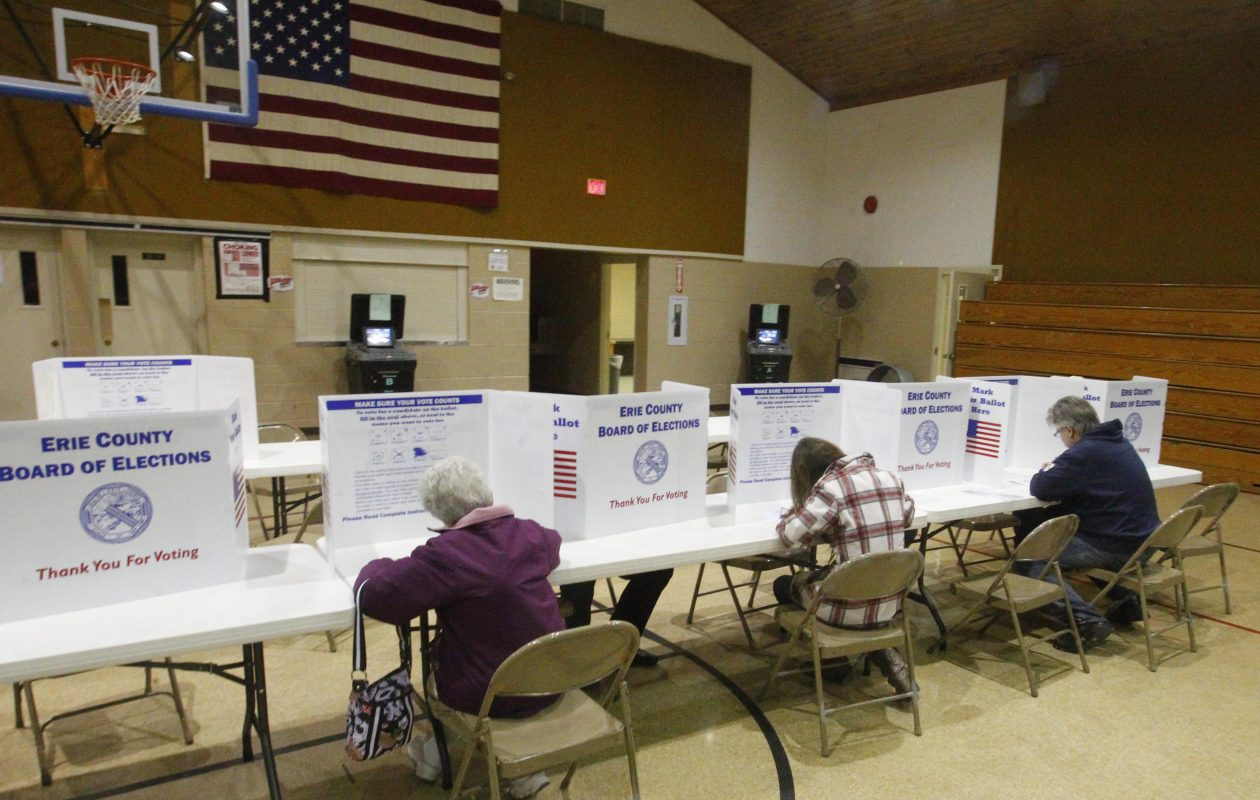 Voters fill out ballots at 14 Holy Helpers Monsignor Ebner Hall in West Seneca. (News file photo)