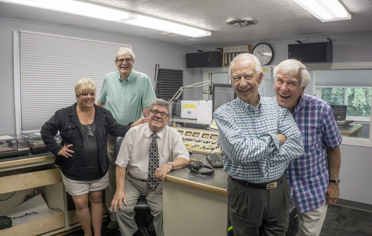 Beloved local radio veterans have assembled to create an all-star team at WECK 102.9 FM, including, from left: Gail Ann Huber, Tom Donahue, Jon Summers, Jon Zach and Danny Neaverth. (Dave Jarosz)