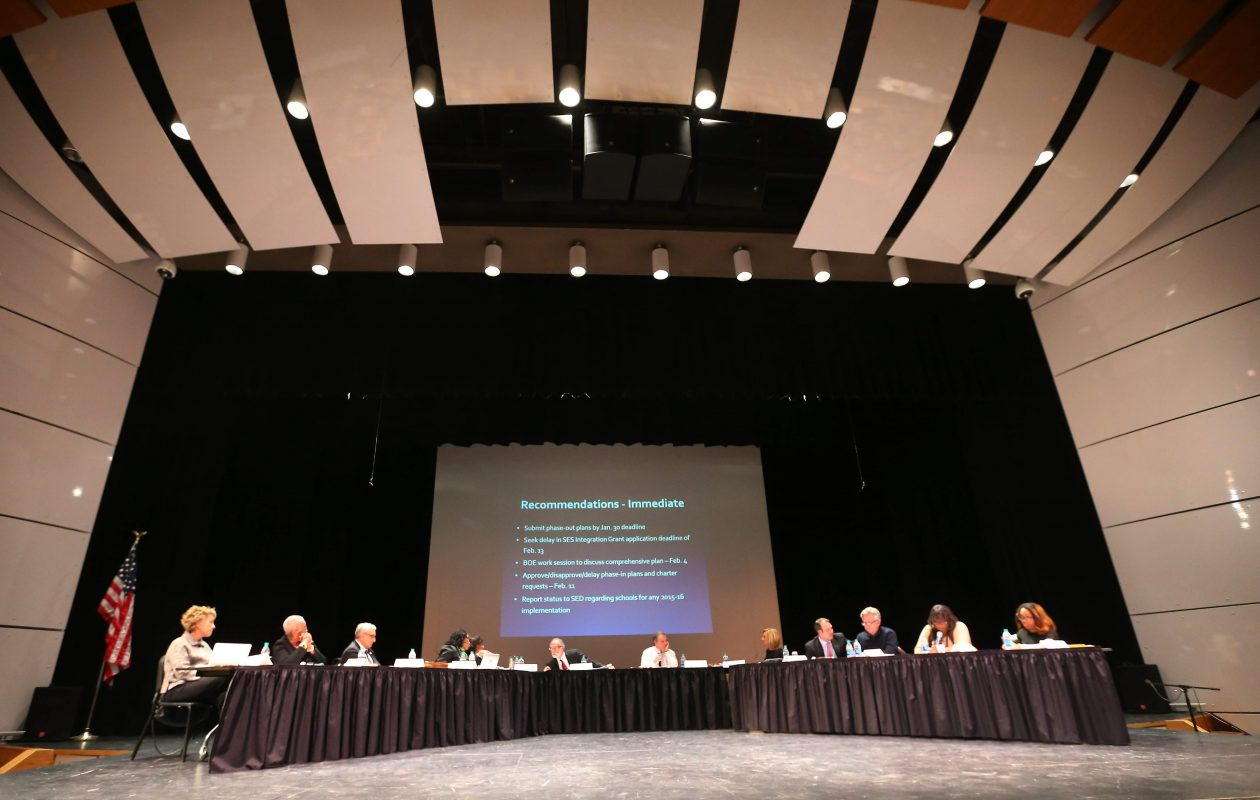 Buffalo school board members meet at Buffalo Academy for Visual and Performing Arts in Buffalo Thursday, January 28, 2015.  (Mark Mulville/Buffalo News)