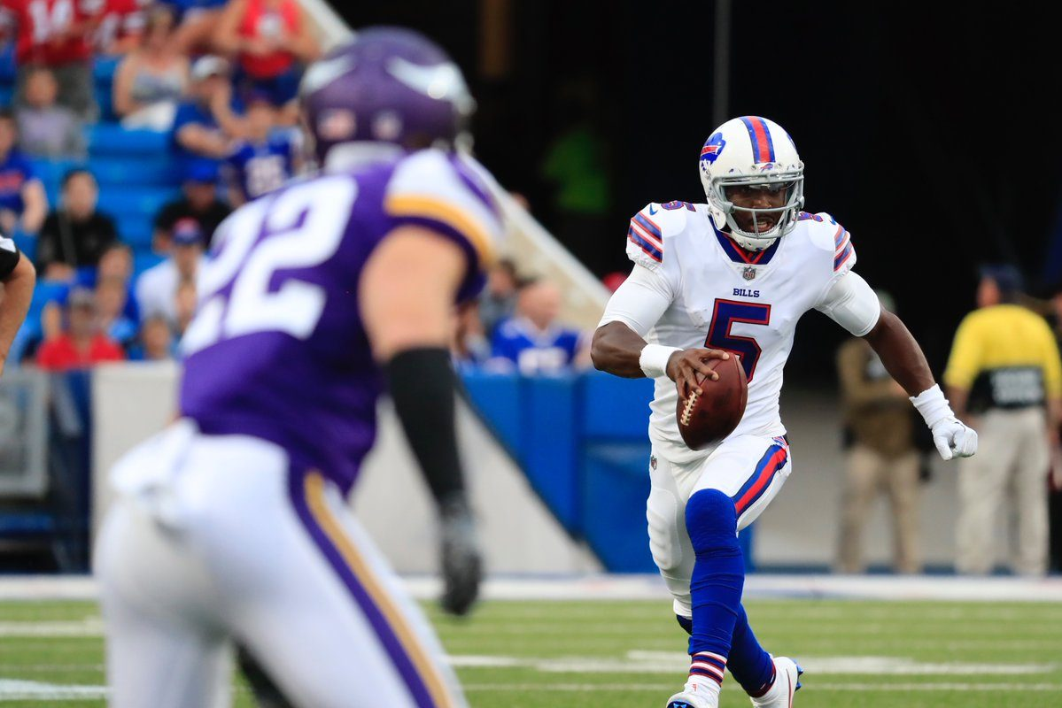 Tyrod Taylor runs during the first half of the Bills' first preseason game against the Vikings on Aug. 10, 2017. (Harry Scull Jr./Buffalo News)