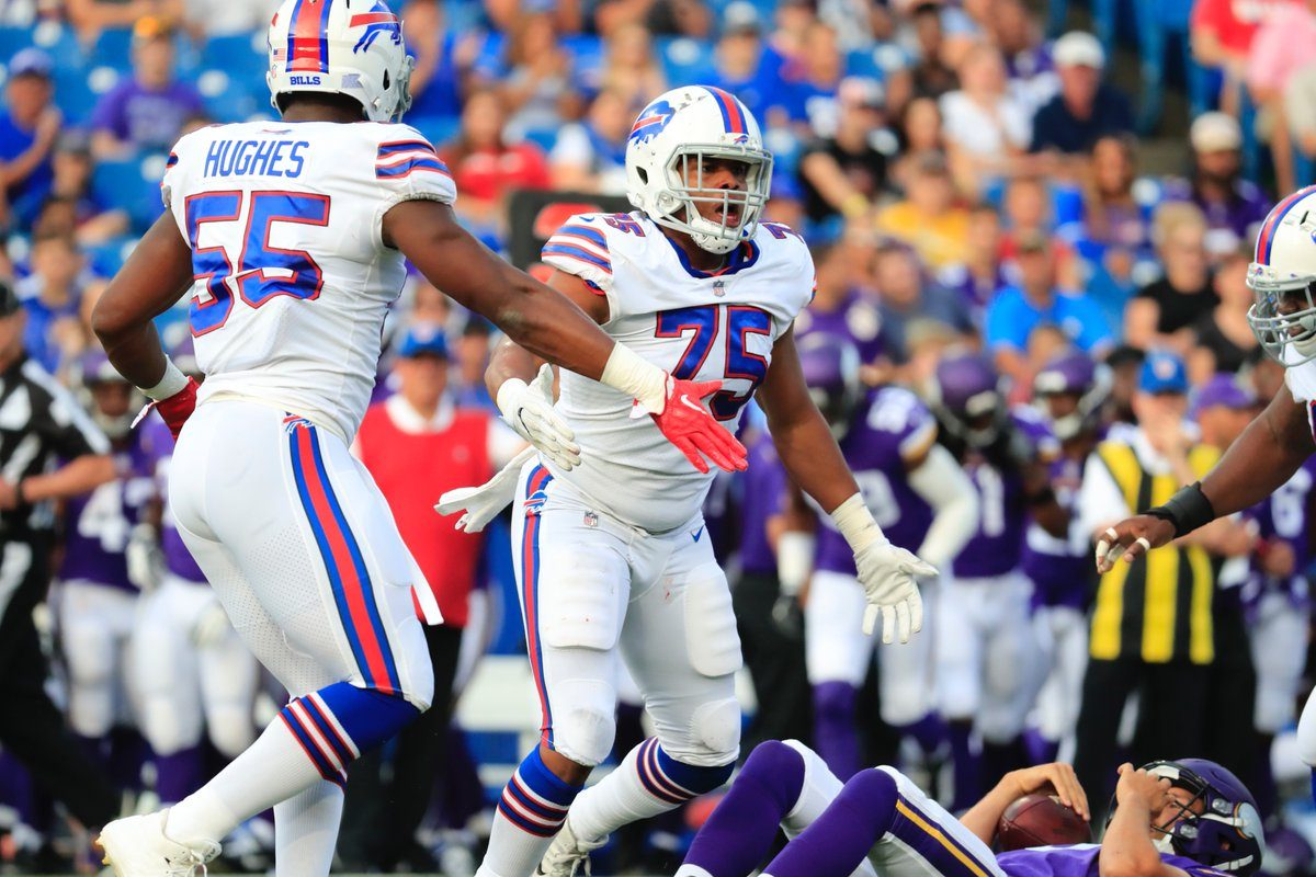 Eddie Yarbrough sacks Vikings quarterback Sam Bradford in the first quarter of the Bills' preseason game on Aug. 10, 2017. (Harry Scull Jr./Buffalo News)