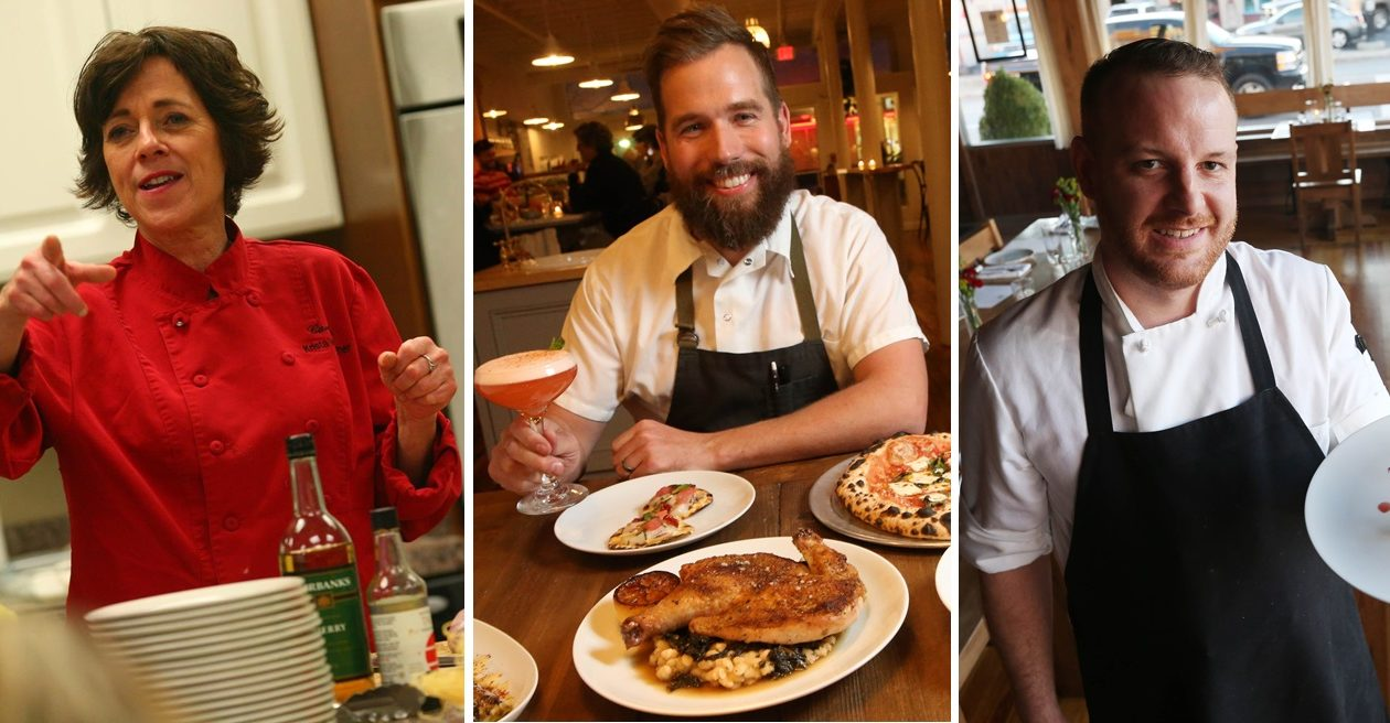 From left: Krista Van Wagner, Brad Rowell and Andrew Murtha are local chefs who will contribute to the new initiative at the Erie County Fair. (Buffalo News file photos)