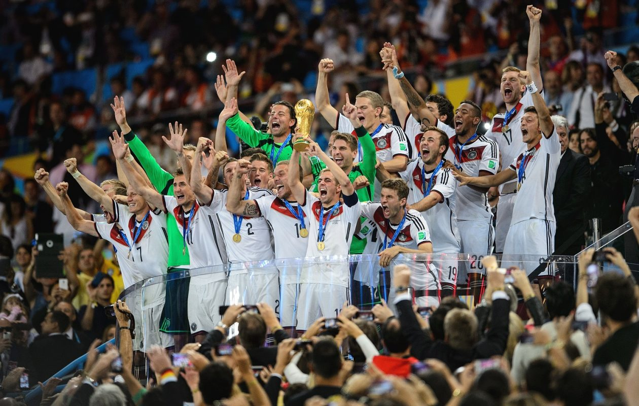 The German men's national soccer team celebrates winning the 2014 World Cup. With North America aiming to host World Cup 2026, the United Bid Committee released a provisional list of U.S. cities that could host a match. (Photo by Matthias Hangst/Getty Images)