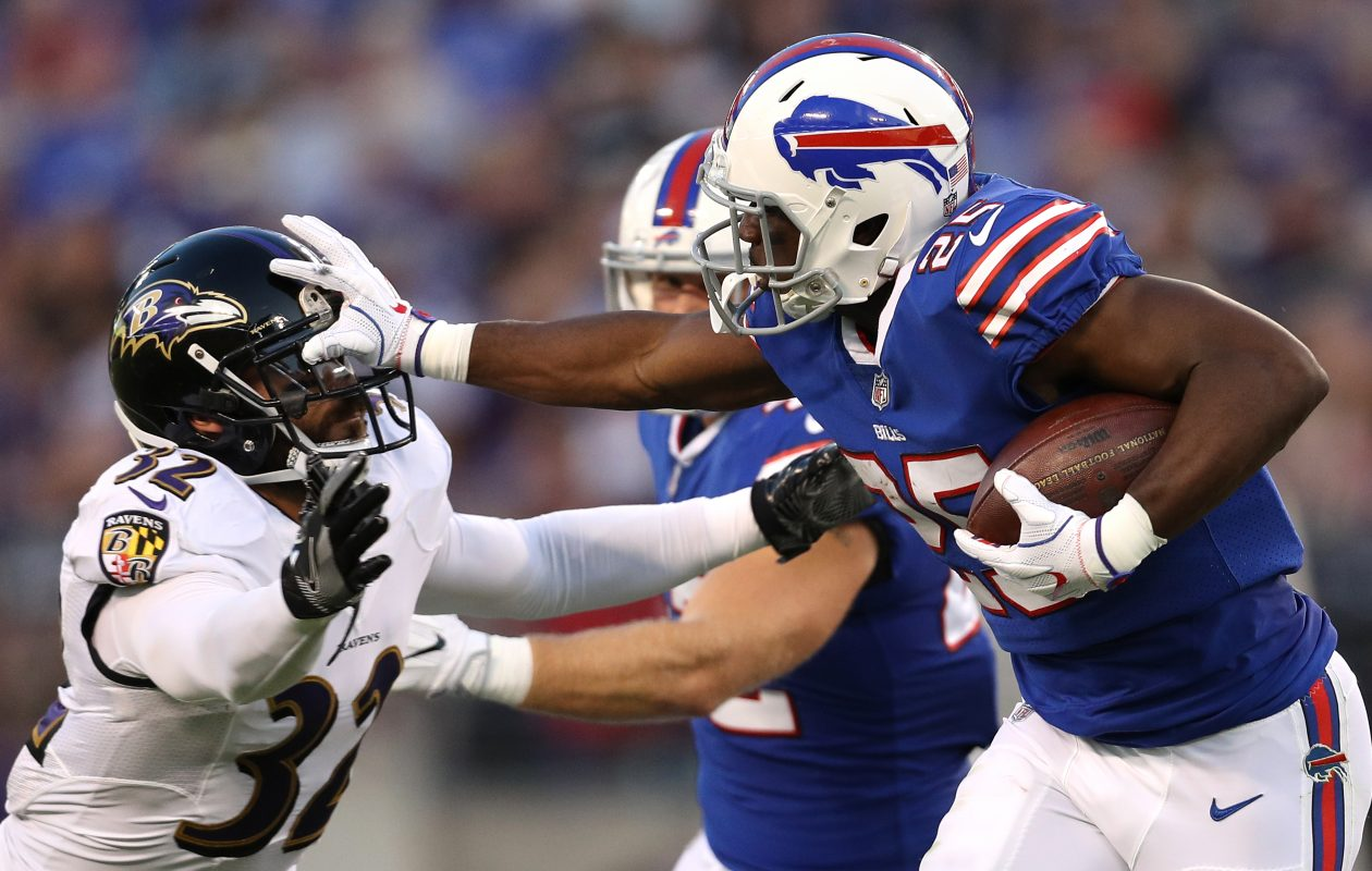Running back LeSean McCoy and the rest of the Buffalo Bills' offense found little room to operate Saturday against the Baltimore Ravens. (Getty Images)