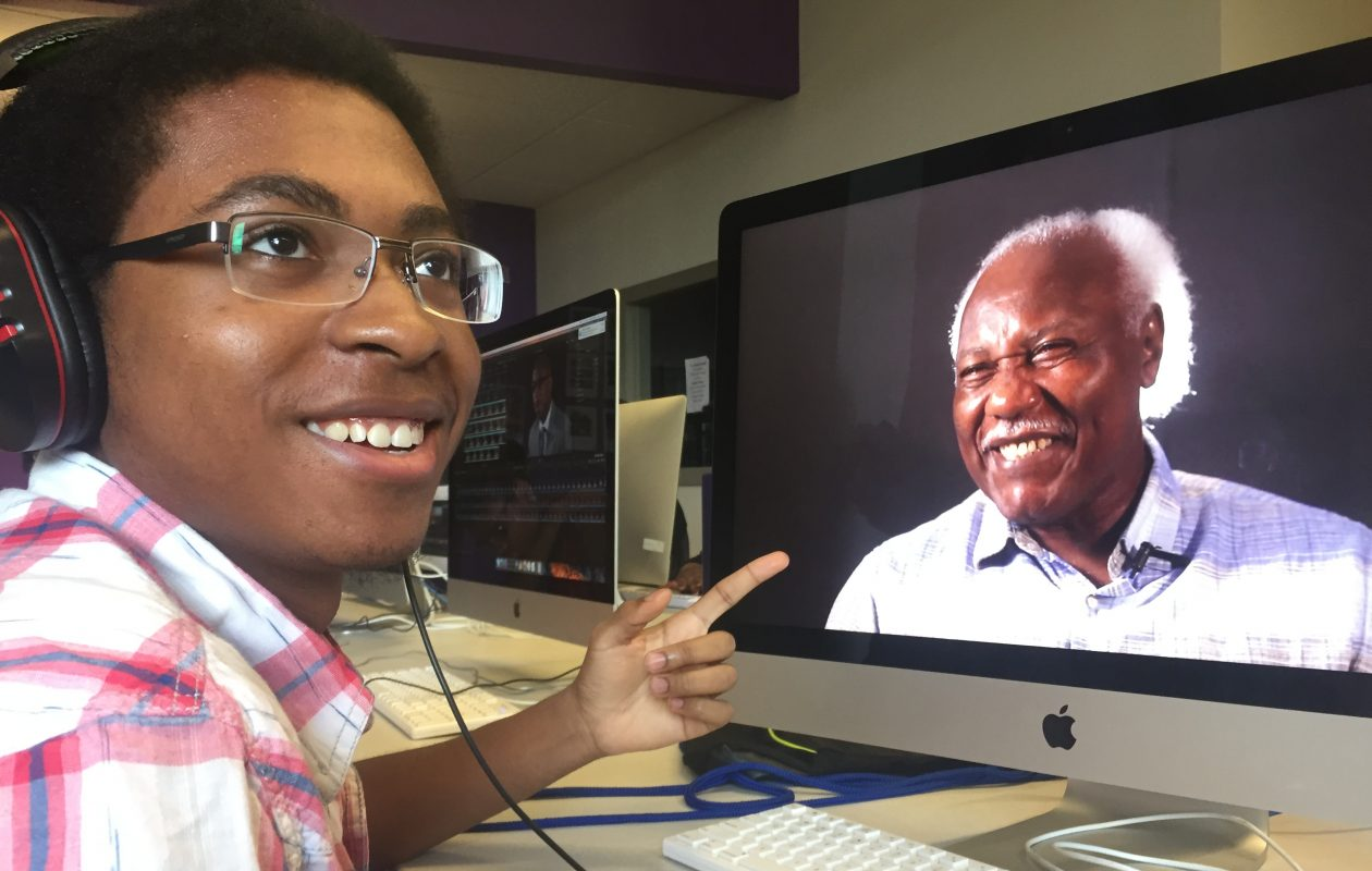 "Christopher Shirley-Brown, a student at the Buffalo Center for Arts and Technology, works on ""The Civic Heart,"" a documentary about local leaders."