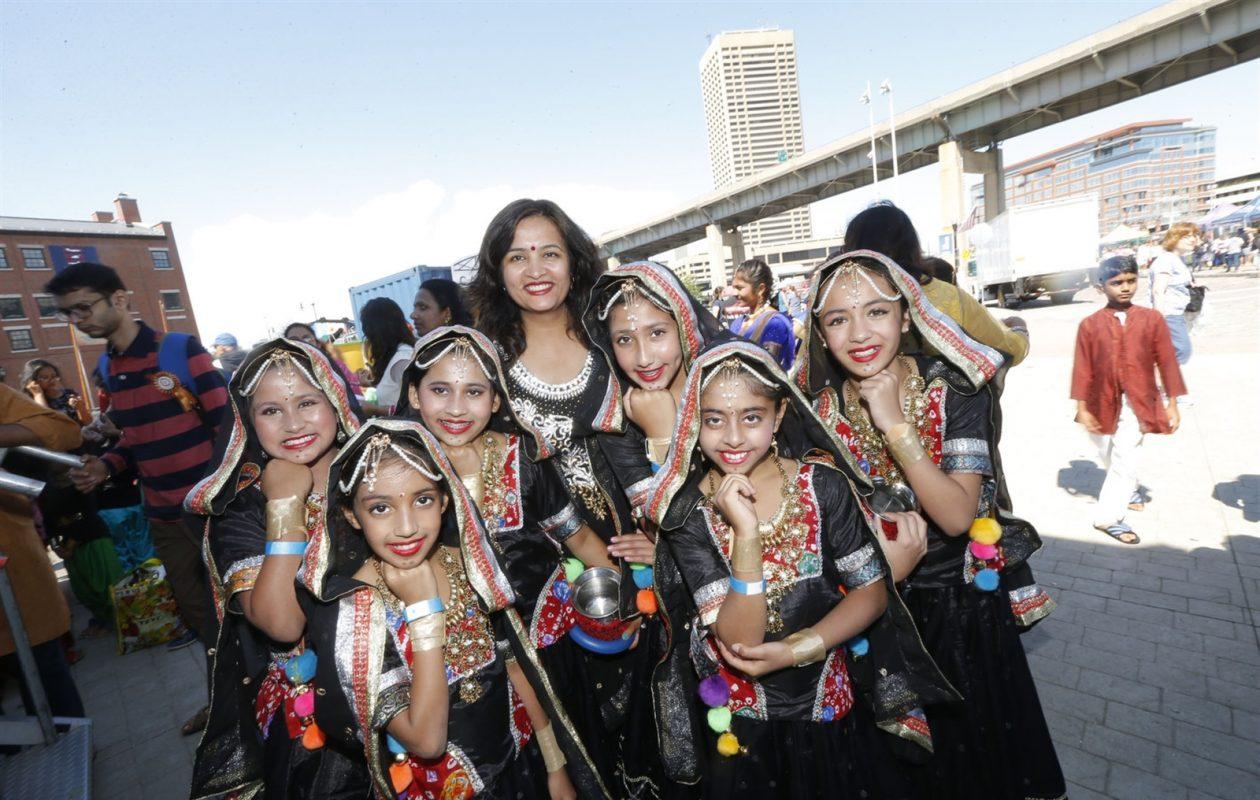 Members of the Kalbeliya Dance Folk Dance group wait to take the main stage at the Festival of India. (Robert Kirkham/Buffalo News)