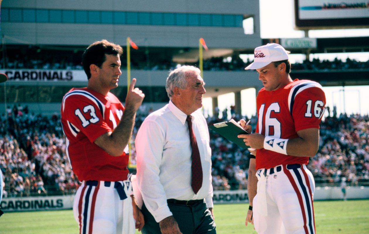 Dick MacPherson, as coach of the New England Patriots, with Tommy Hodson and Scott Zolak. (Image courtesy New England Patriots)