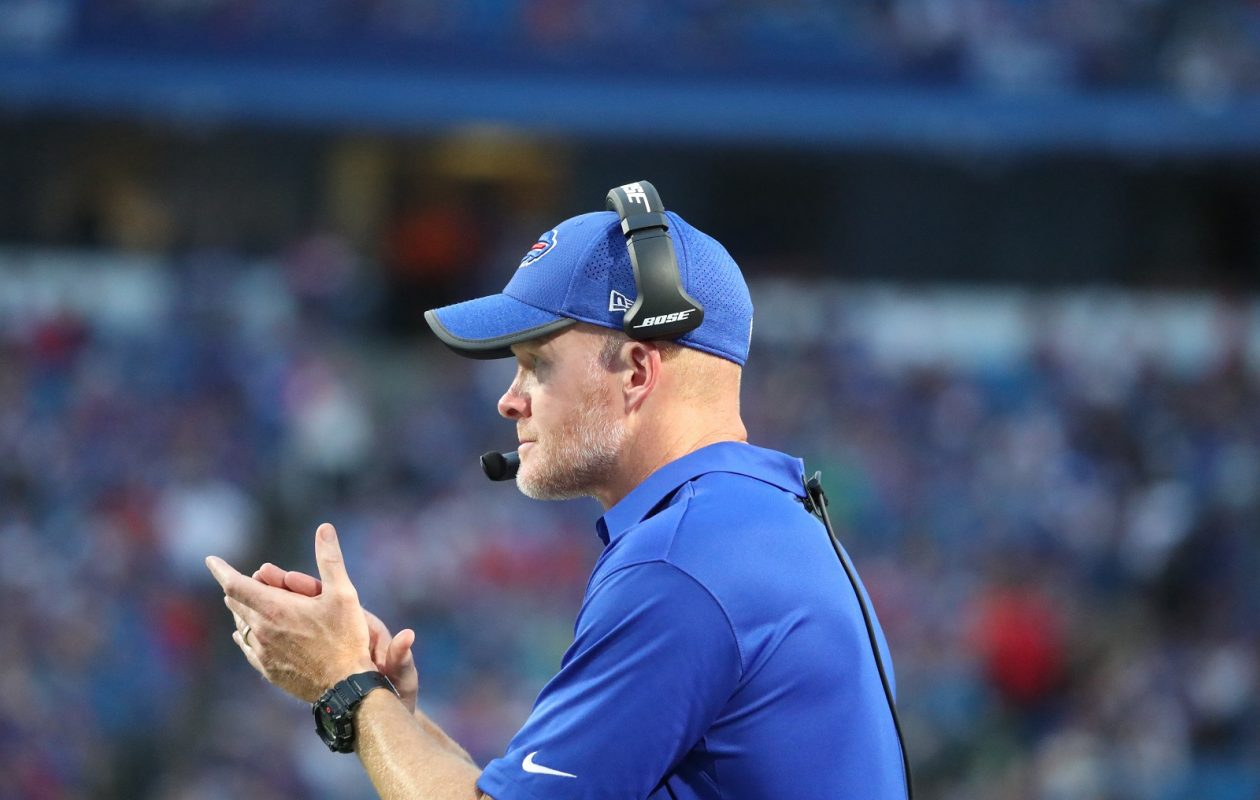 Buffalo Bills head coach Sean McDermott calls the plays from the sidelines during Thursday's 17-10 preseason loss to the Minnesota Vikings.  (James P. McCoy/ Buffalo News)
