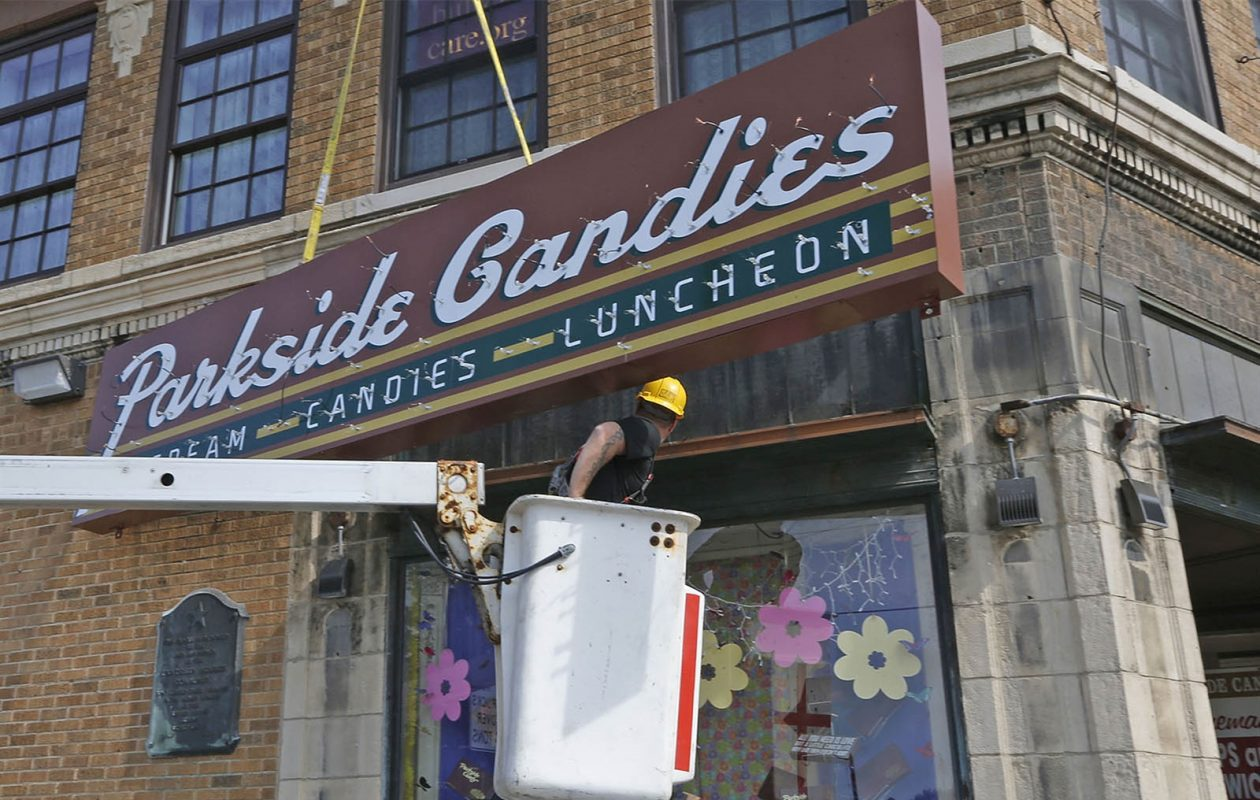 The location got a new sign. (Robert Kirkham/Buffalo News)