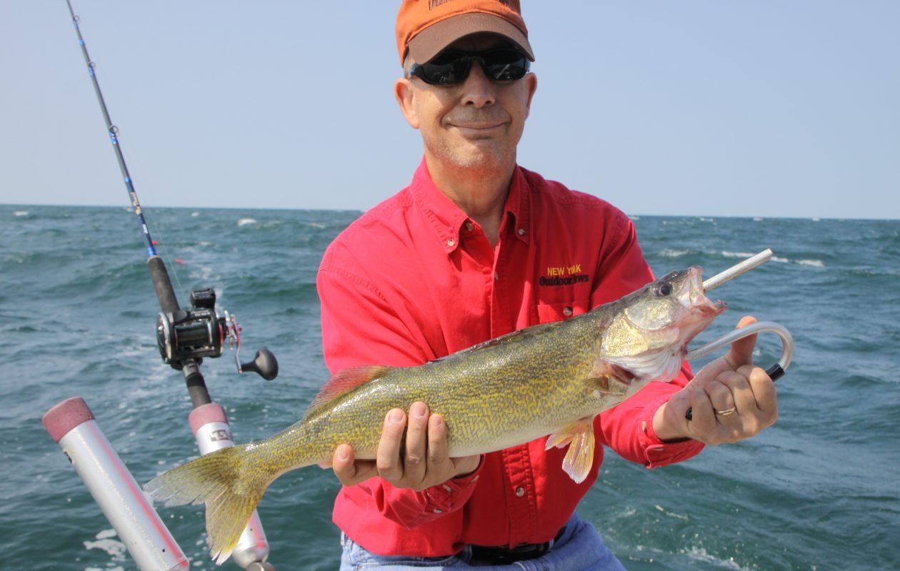 NY Outdoor News editor Steve Piatt shows off a walleye.