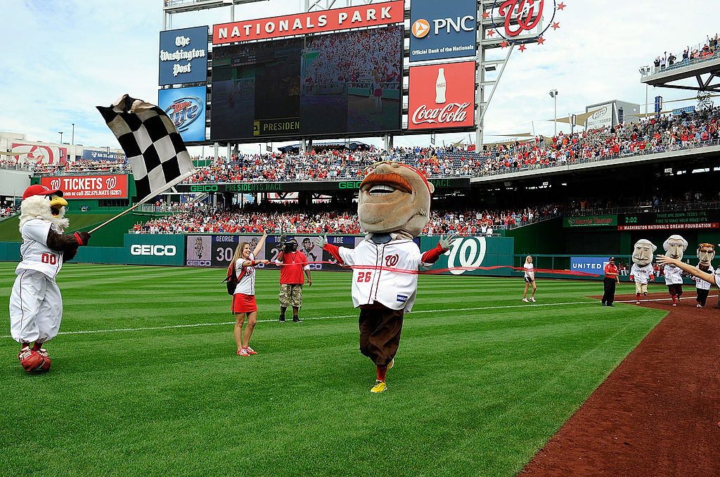Teddy Roosevelt wins the Presidents Race at Nationals Park for the first time on Oct. 3, 2012 (Getty Images).