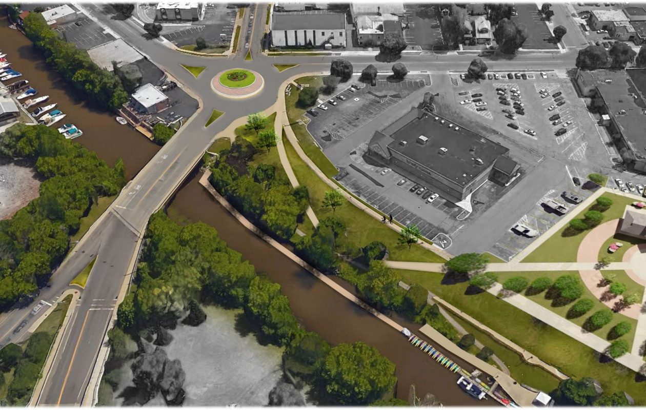 Rendering of plan to close Young Street, between Main and Broad streets, in the City of Tonawanda and convert it into a park. (Clark, Patterson and Lee)