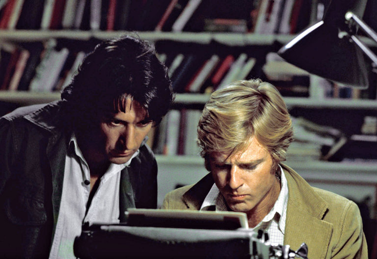 "Dustin Hoffman and Robert Redford star in the modern classic ""All the President's Men."""