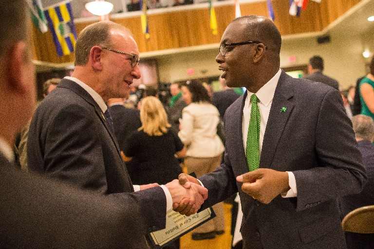 Buffalo Comptroller Mark J.F. Schroder, left, believes the city budget proposed by the administration of Mayor Byron W. Brown, right, relies too much on wishful financial thinking. (Derek Gee/News file photo)