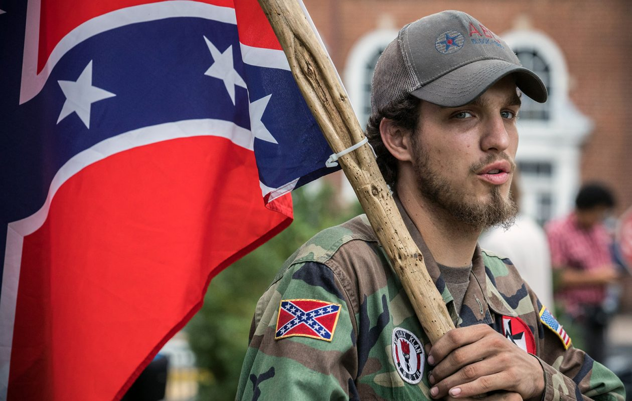 Ben, a 21-year-old KKK member from Harrison, Ark., attends the white supremacist rally at Emancipation Park in Charlottesville, Va. (Washington Post)
