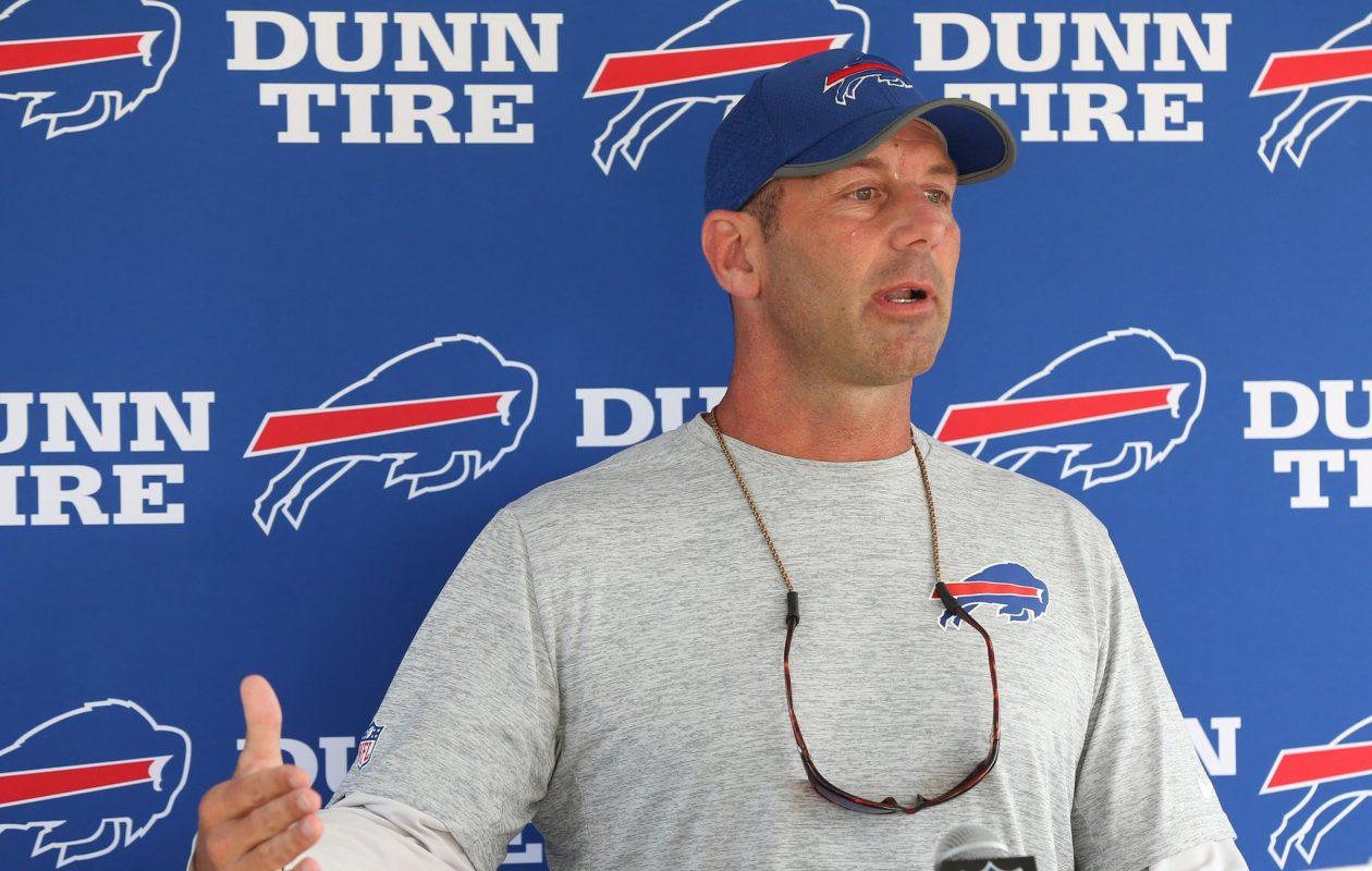Buffalo Bills special teams coordinator Danny Crossman talks to the press before Day Six of training camp on Tuesday, Aug. 2, 2017. (James P. McCoy/Buffalo News)