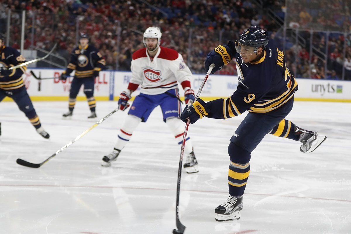 Buffalo's Evander Kane shoots against Montreal during a 2017 game at KeyBank Center. (Harry Scull Jr./News file photo)