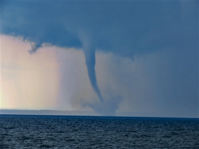 Thunderstorms and waterspouts spotted