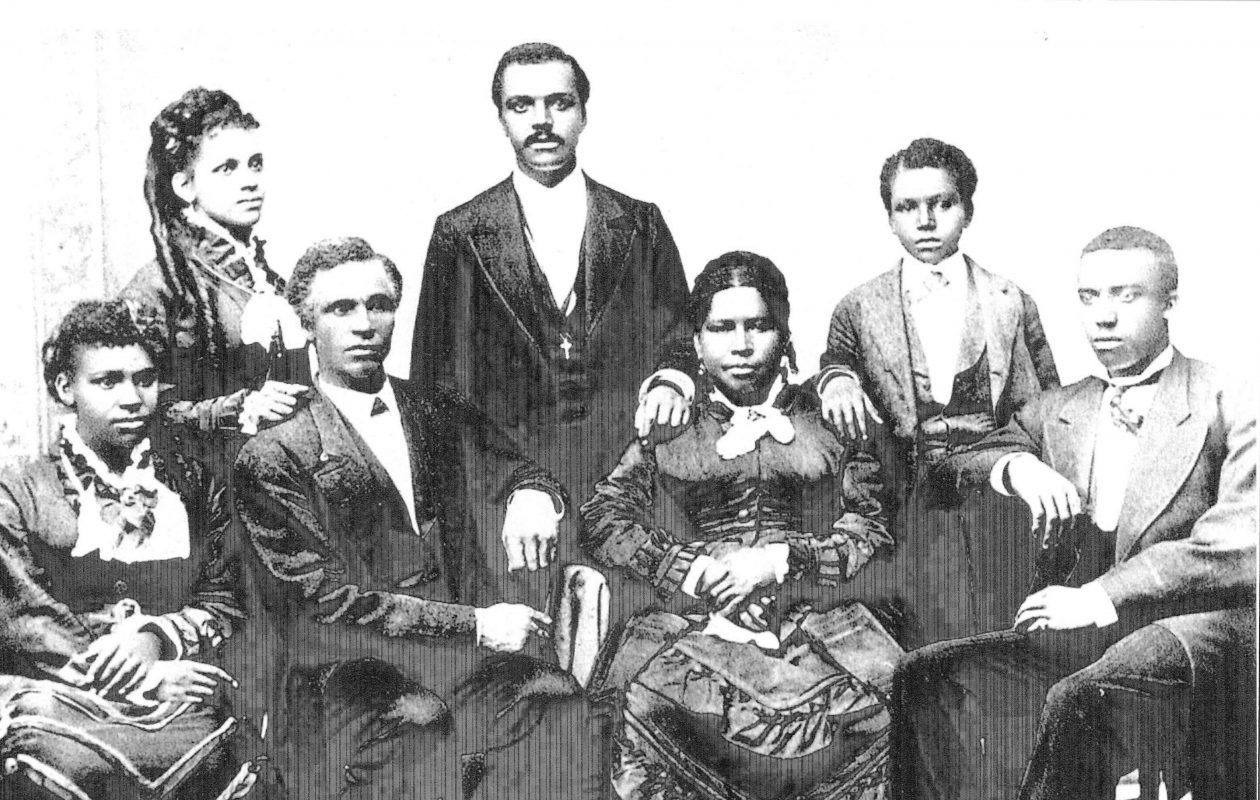 Aaron Mossell, standing in the center, forced Lockport to desegregate its schools by leading a boycott of blacks-only schools in 1873.