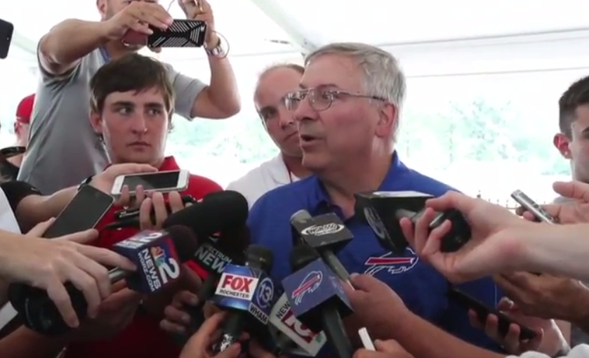 Bills owner Terry Pegula gave a rare interview Wednesday at training camp. (James P. McCoy/Buffalo News)