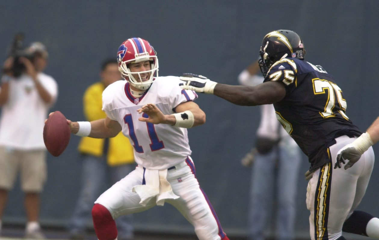 Bills quarterback Rob Johnson is shown just before he was sacked by Marcellus Wiley in a 2001 game against the San Diego Chargers. (James P. McCoy/News file photo)
