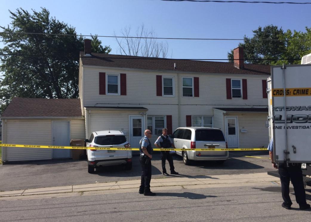 Police on the scene at 33 Sierra Drive in Cheektowaga on Monday morning. (Aaron Besecker/Buffalo News)