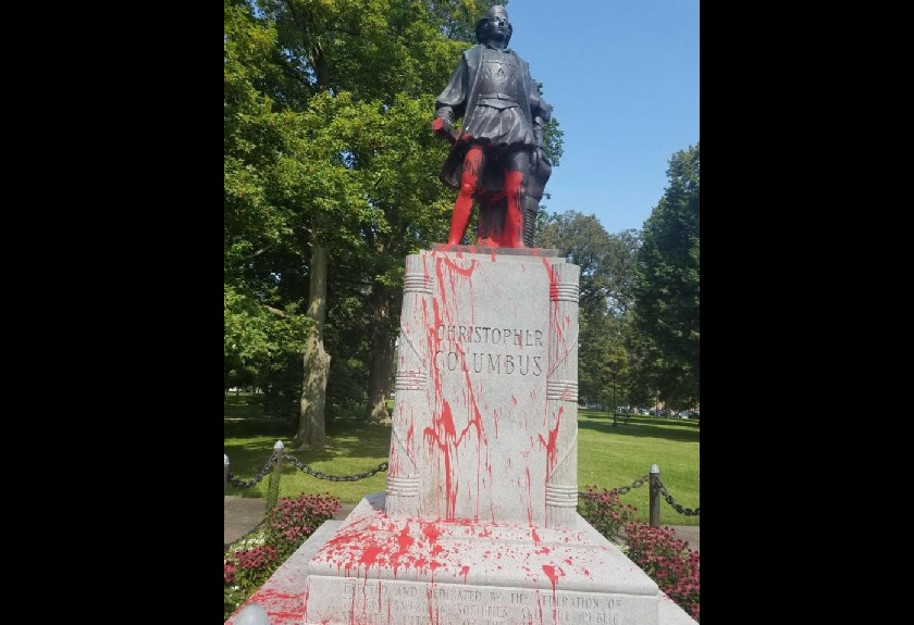 Vandals used red paint on the Christopher Columbus statue overnight Thursday. (Photo provided by Buffalo Police)