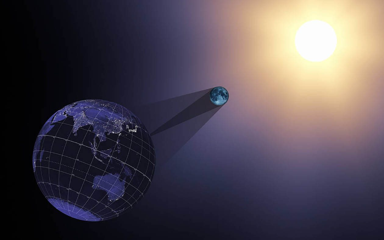 In the animation from which this still was taken, the Earth, moon, sun, and shadow cones are viewed through a telescopic lens on a virtual camera located far behind the Earth. The moon's umbra cone is roughly 30 Earth diameters long, barely enough to reach the Earth, while the sun is almost 400 times farther away. (NASA's Scientific Visualization Studio)