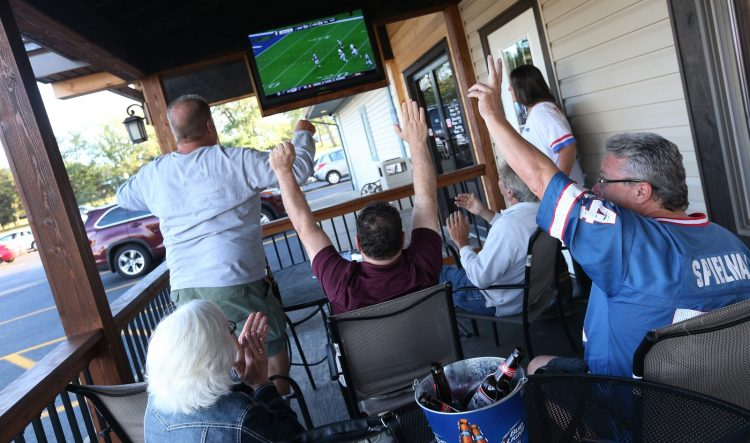 Buffalo Sports Garden at 2945 Southwestern Blvd. in Orchard Park. They have 25 TVs around the bar-restaurant, including at 110-inch projection screen TV. (Sharon Cantillon/Buffalo News)