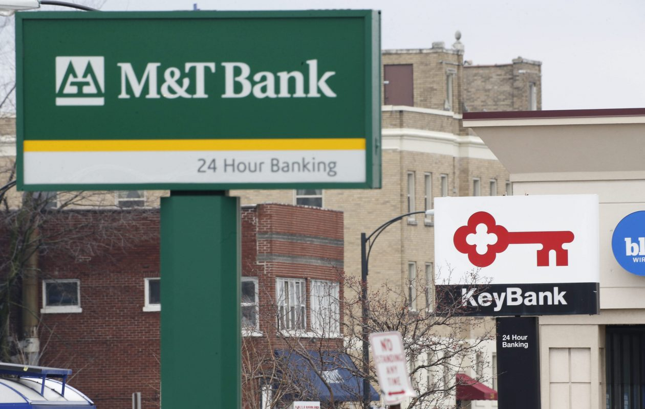 M&T Bank and KeyBank signs in the plaza at Delaware and Hertel.  (Derek Gee/Buffalo News)