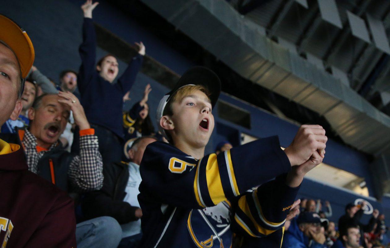 Even in the 300 level, Sabres fans are still ferocious. (Sharon Cantillon/Buffalo News)