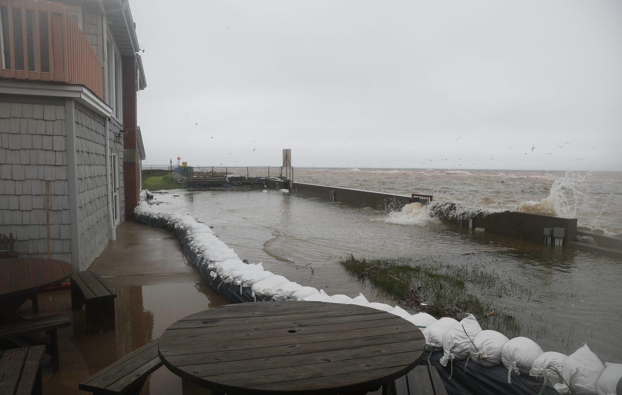 Sandbags were put around the marina at the Olcott Yacht Club because of flooding in 2017. (John Hickey/Buffalo News)