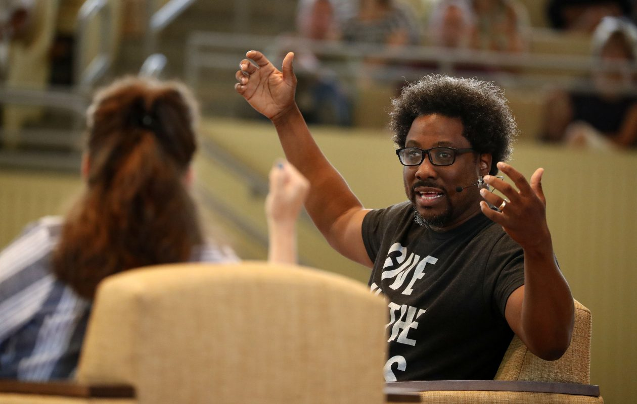Comedian W. Kamau Bell is interviewed by Kelly Carlin at the Chautauqua Institute amphitheater on Thursday, Aug. 3, 2017. (Mark Mulville/Buffalo News)