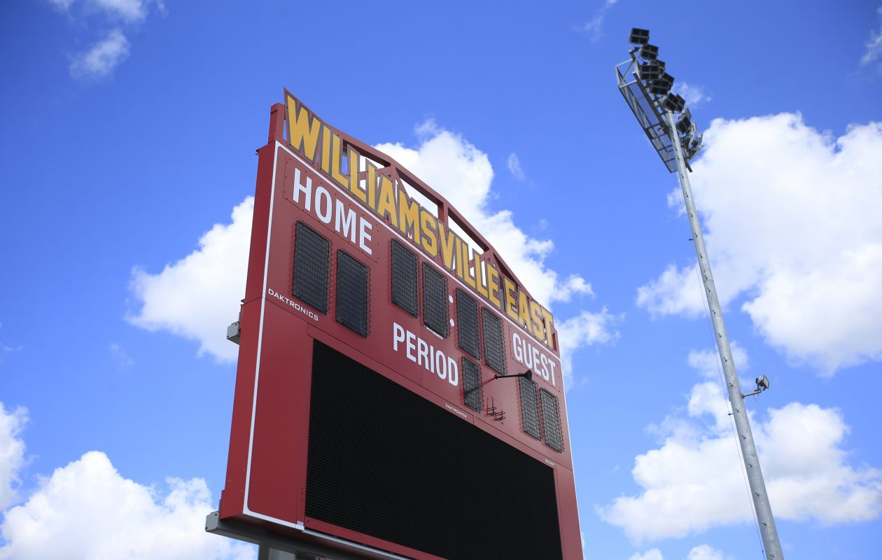 One of the three scoreboards at the multipurpose athletic fields at Williamsville East High School. (Harry Scull Jr./Buffalo News)