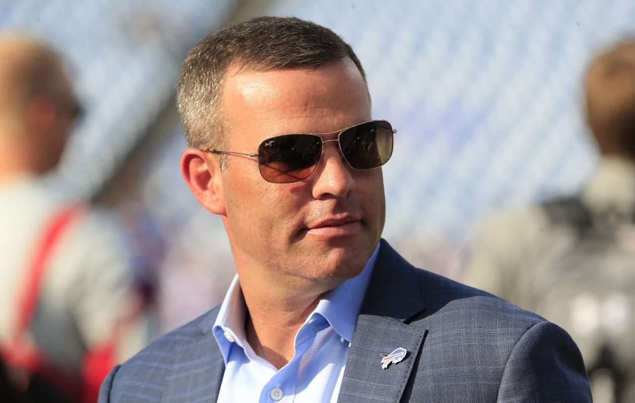 GM Brandon Beane takes the field prior to a Bills preseason game. (Harry Scull Jr./Buffalo News)