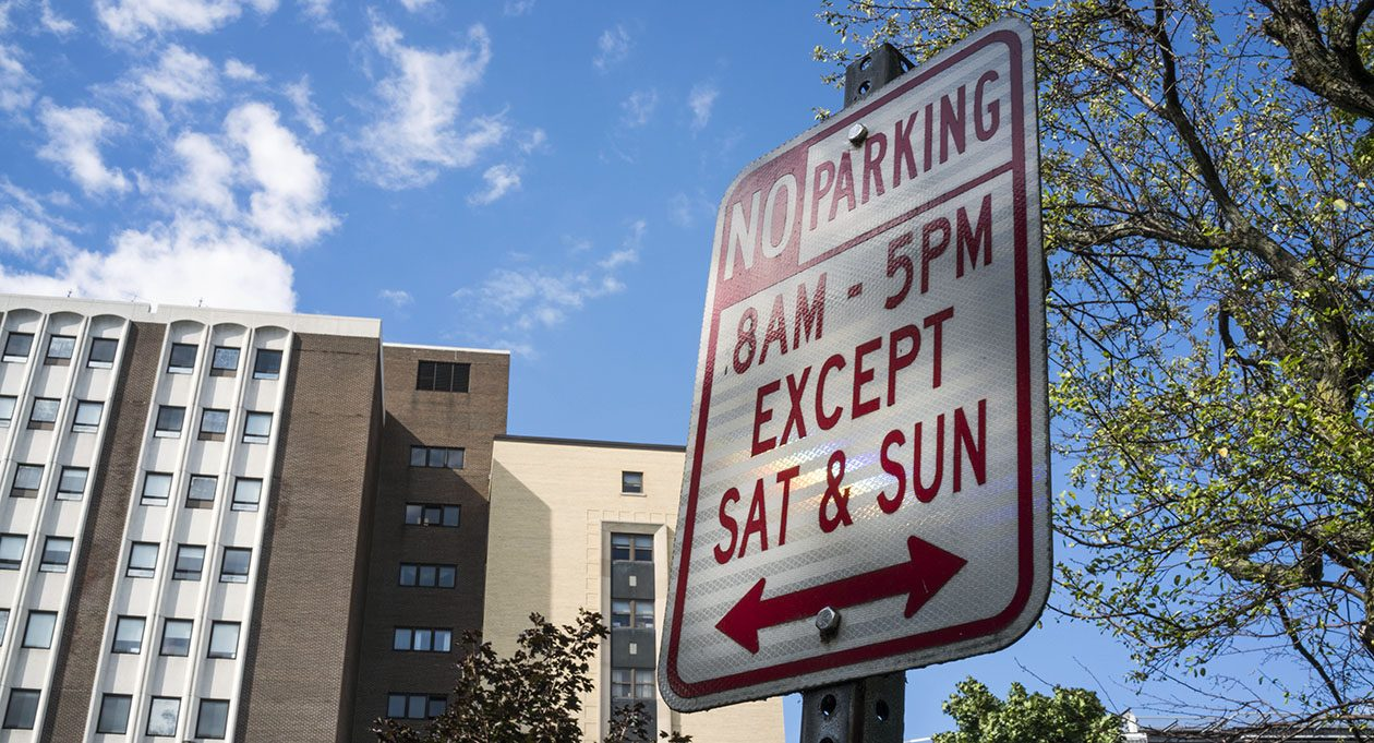 A 'no parking' sign on Oakland Place across from Women and Children's Hospital. (Derek Gee/Buffalo News)