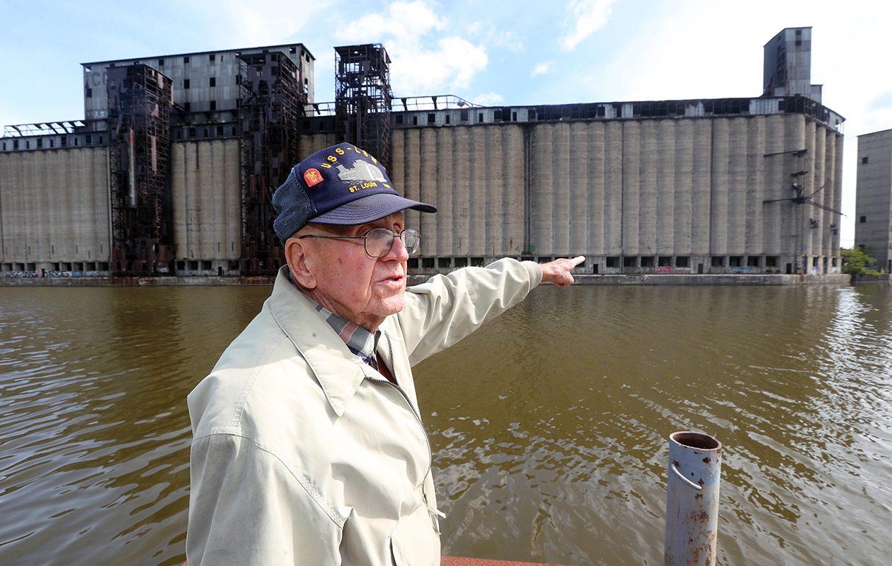 Wally Kowal, 92, shares memories at the grain elevators that once were home to Continental Grain. (John Hickey/Buffalo News)