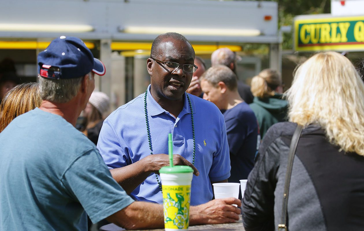 Buffalo Mayor Byron Brown speaks with voters at the Irish Festival at Cazenovia Park in South Buffalo Saturday, Sept. 2, 2017. (Mark Mulville/Buffalo News)