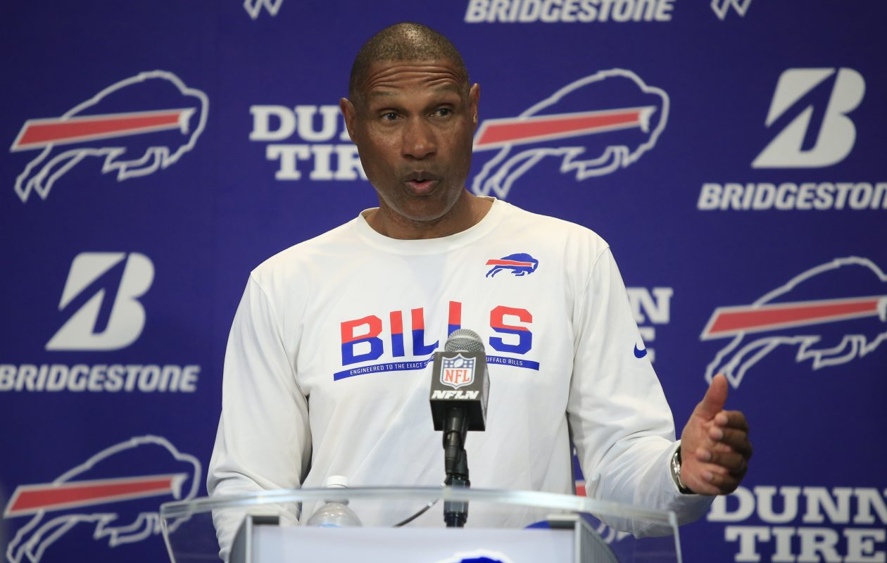 Buffalo Bills defensive coordinator Leslie Frazier speaks to the media on Monday, Sept. 4, 2017.(Harry Scull Jr./Buffalo News)