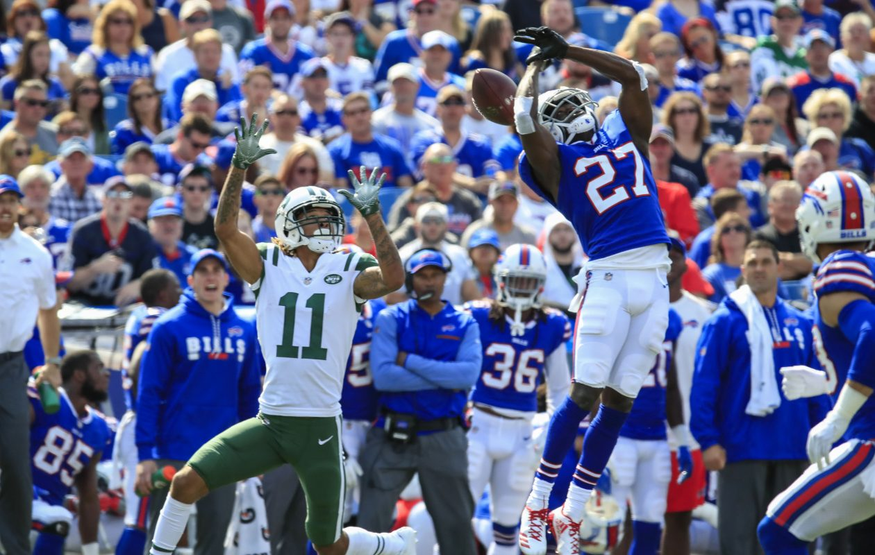 TreDavious White  breaks up a pass intended for the Jets Robby Anderson in Sundays win. (Harry Scull Jr./The Buffalo News)