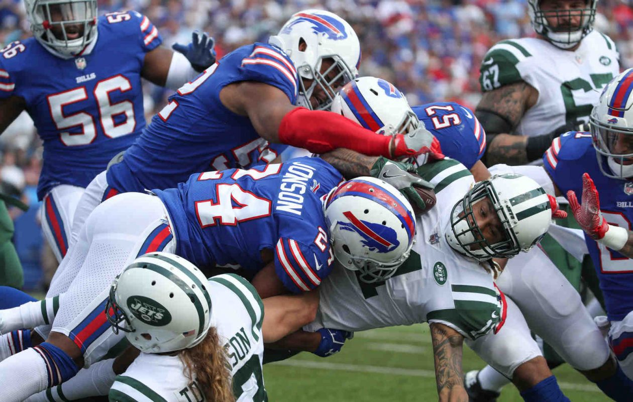 The Buffalo Bills' defense gave up very little running room Sunday against the New York Jets at New Era Field. (James P. McCoy/Buffalo News)