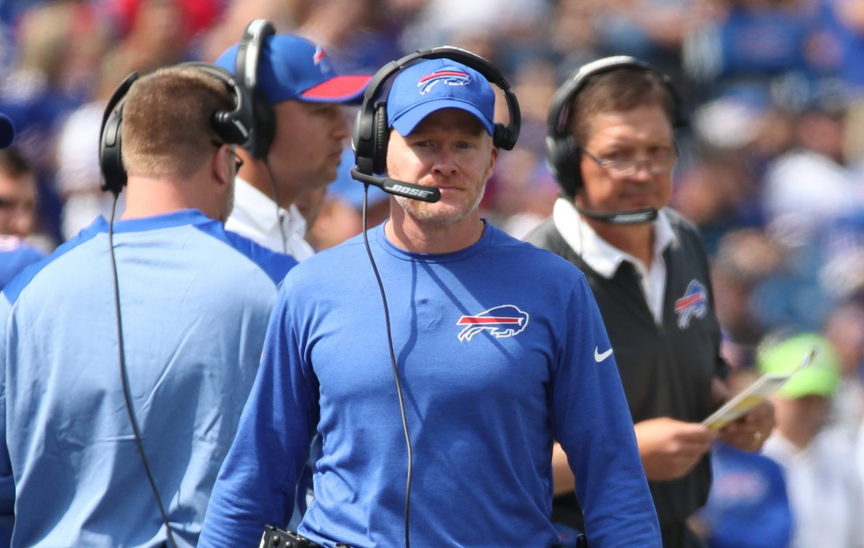 Bills coach Sean McDermott was victorious in his debut Sunday against the New York Jets. (James P. McCoy/Buffalo News)